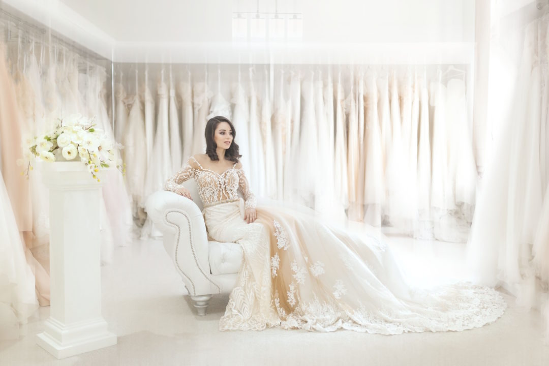 Wedding dress shopping, bridal try on, wedding dress store