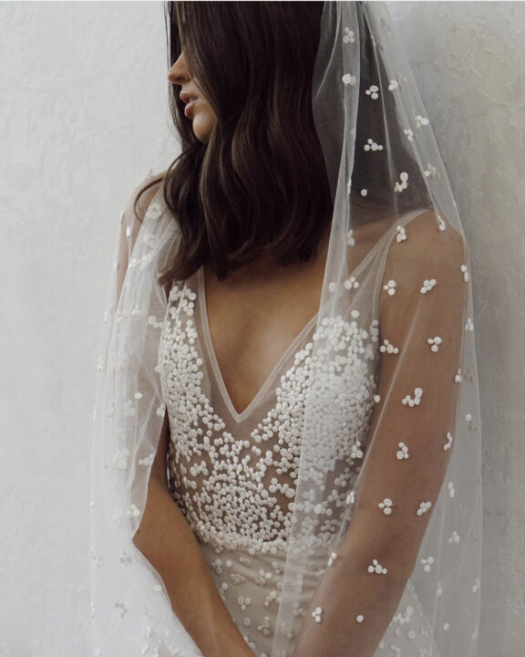 made with love bridal rosey veil and v-cut wedding dress