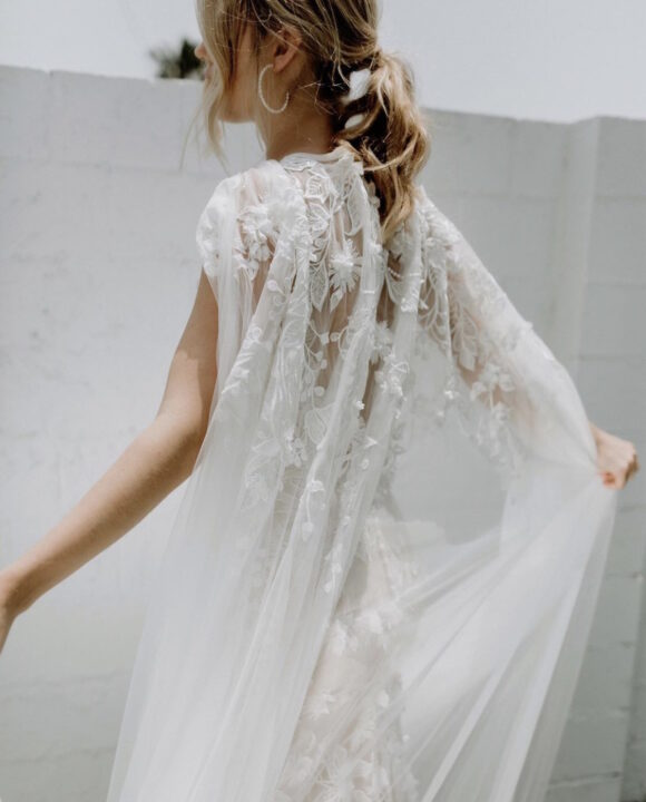 wedding dress with 3d lace flower cape mwlcarla