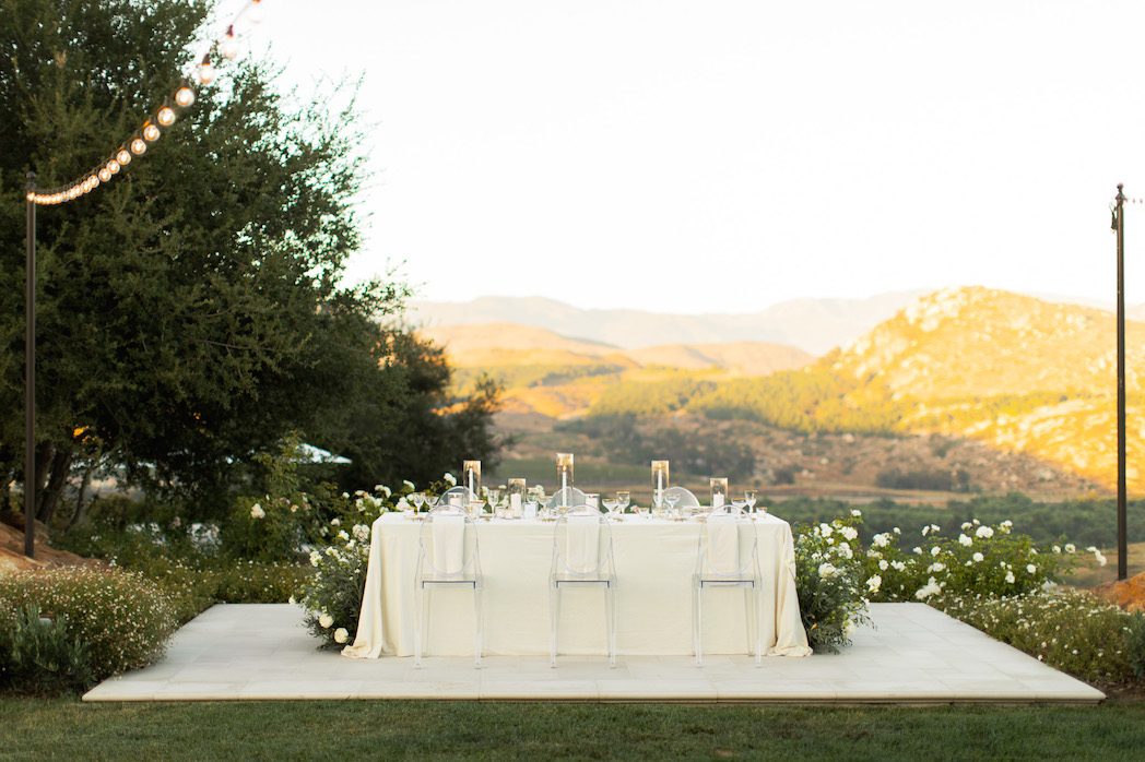 micro wedding reception outdoors