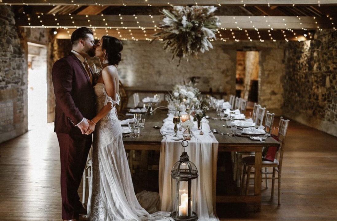 Rustic wedding decor bride and groom