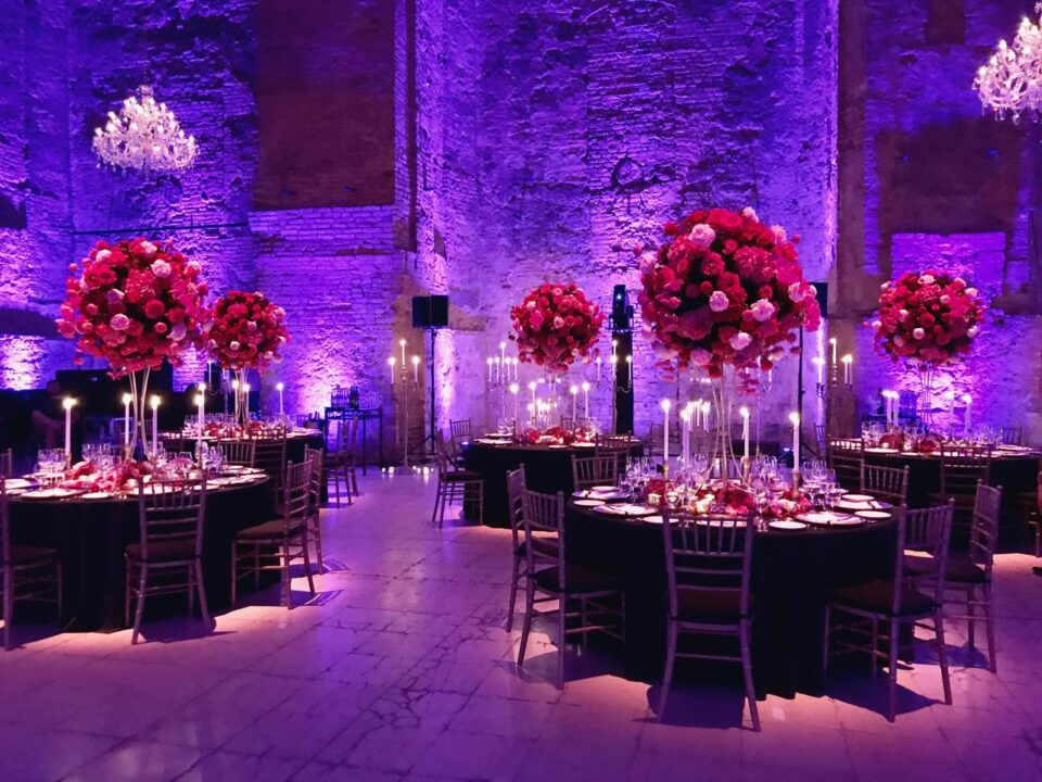 Kiscelli Museum gala dinner with large floral centerpices