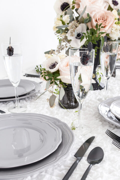 Wedding table decor, flowers and rustic tableware